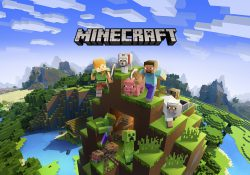 Illustration of Minecraft characters on top of a mountain created in the style of Minecraft games. Image courtesy of Microsoft.