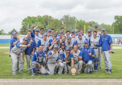 KCC's baseball team celebrates after winning the National Junior College Athletic Association regional championship in 2015.