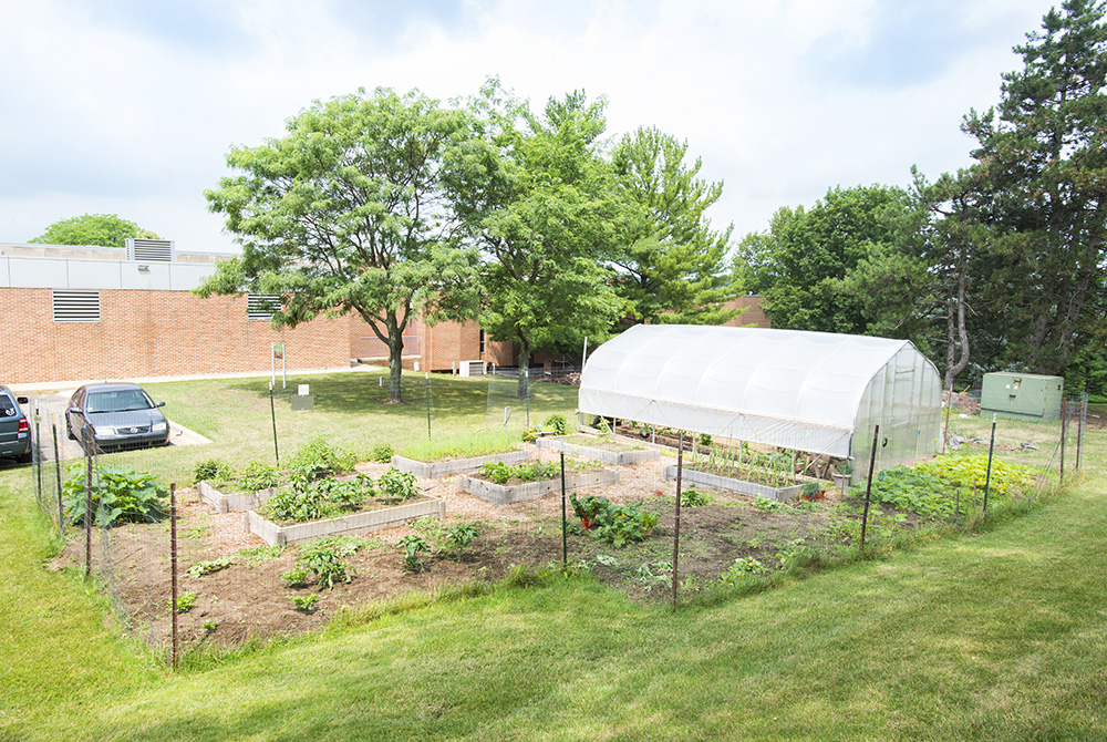 The community garden on KCC's North Avenue campus in Battle Creek.