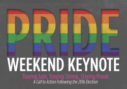 A text slide promoting KCC's Pride Weekend Keynote event scheduled for 6:30 to 8:30 p.m. July 13, 2017, in downtown Battle Creek.