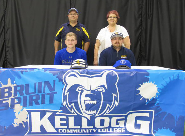Pictured, in the front row, from left to right, are Riley Cramer and Battle Creek Central High School Baseball Coach Casey Bess. Pictured in the back row, from left to right, are Tom Cramer (father) and Jan Cramer (mother).