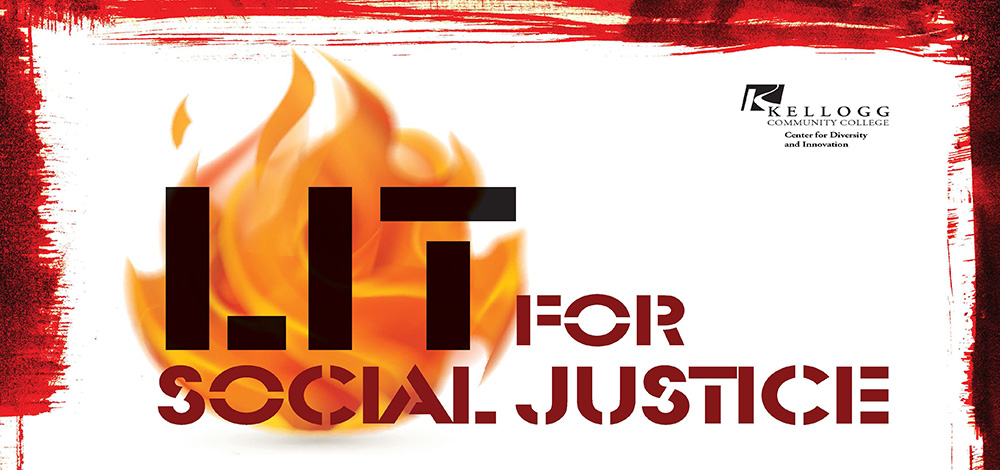 A text and graphic slide featuring an image of a flame with superimposed text highlighting the KCC CDI's upcoming LIT for Social Justice youth retreat.