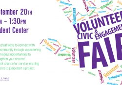 A text slide promoting KCC's upcoming Volunteer and Civic Engagement Fair, scheduled for 11 a.m. to 1:30 p.m. Sept. 20, 2017, in the Student Center on KCC's North Avenue campus in Battle Creek.