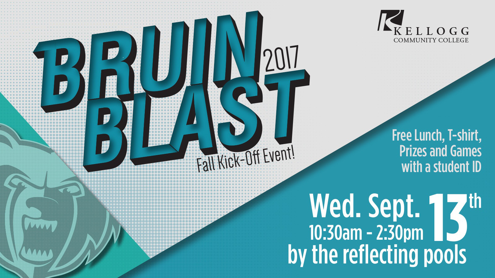 A text slide promoting Bruin Blast, KCC's fall welcome-back event for students, which will be held Sept. 13 on KCC's North Avenue campus in Battle Creek.