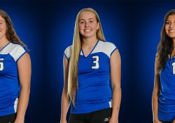 KCC volleyball players Kameron Haley, Katelyn Leckie and Rose Tecumseh.