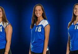 KCC volleyball players Emily Delmotte, Kirby Frodge and Riley Rakocy.