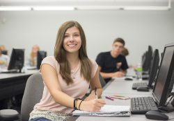 KCC student Allison Anthony poses for a photo during a class.
