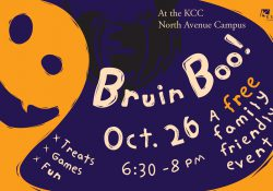 A text slide promoting KCC's upcoming Bruin Boo! community Halloween event on Oct. 26 on campus in Battle Creek.