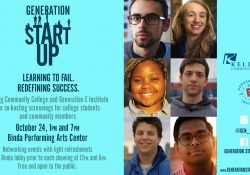 "Portraits of entrepreneurs on a text slide promoting a KCC screening of the documentary ""Generation Startup"" on Oct. 24."
