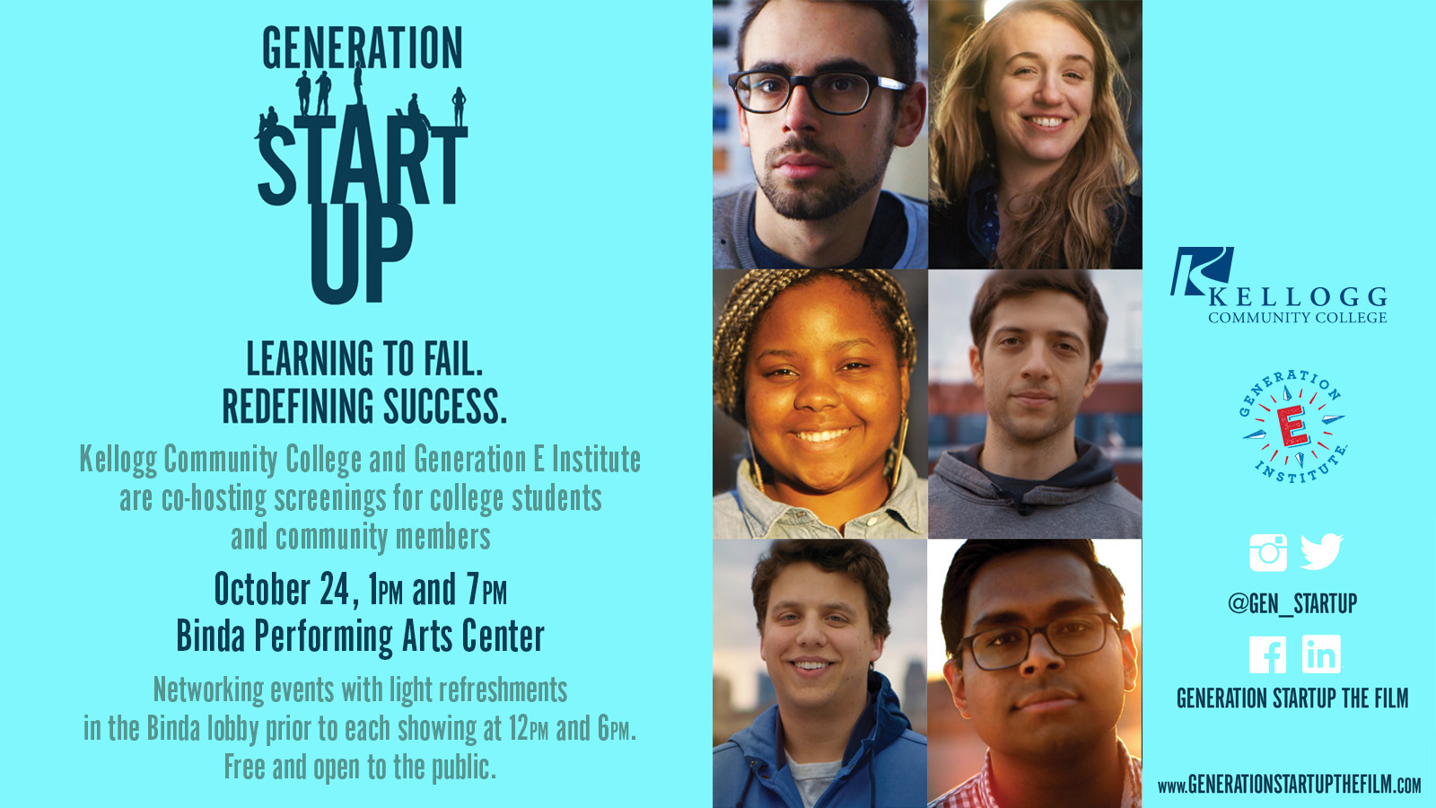 """Portraits of entrepreneurs on a text slide promoting a KCC screening of the documentary """"Generation Startup"""" on Oct. 24."""