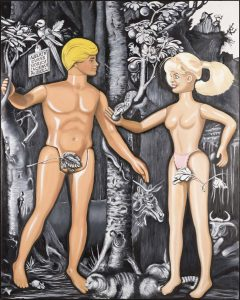 """Germanic Influence on Men and Women from Durer to Barbie,"" an oil on linen painting by Craig Bishop."