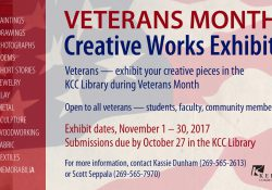 A text slide calling for submissions from veteran artists for works for KCC's Veterans Month Creative Works Exhibit.