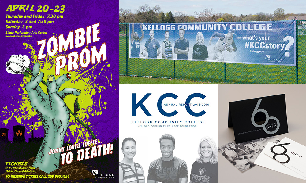 A selection of marketing materials for which KCC won awards in 2017, including a poster, fence banner, annual report and gala invitations.
