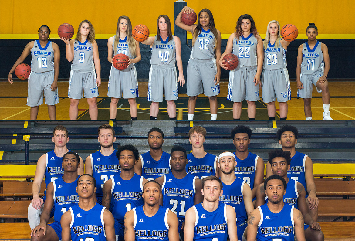 KCC's 2017-18 men's and women's basketball teams.