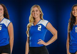 KCC women's volleyball players Kimberly Kusler, Hannah Landis and Rose Tecumseh.