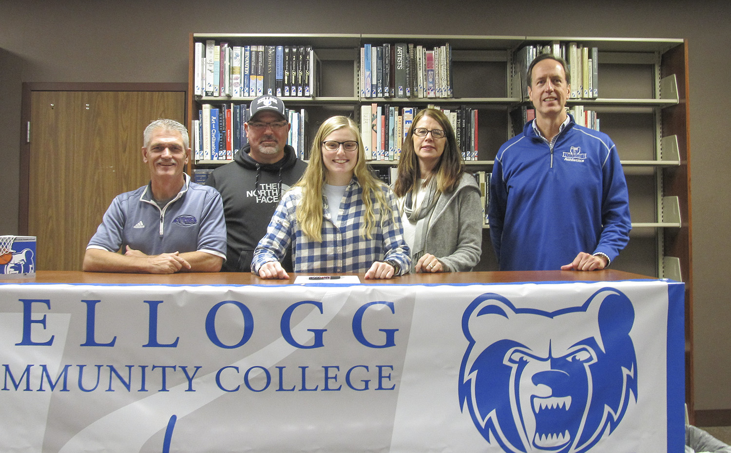 Pictured from left to right are Attack Basketball Coach Alton Tucker, Todd Niedzwiecki (father), KCC basketball signee Meg Niedzwiecki, Julie Niedzwiecki (mother) and KCC's Head Women's Basketball Coach Dic Doumanian.