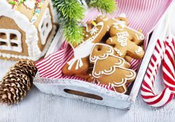 A stock photo featuring Christmas cookies on a table.