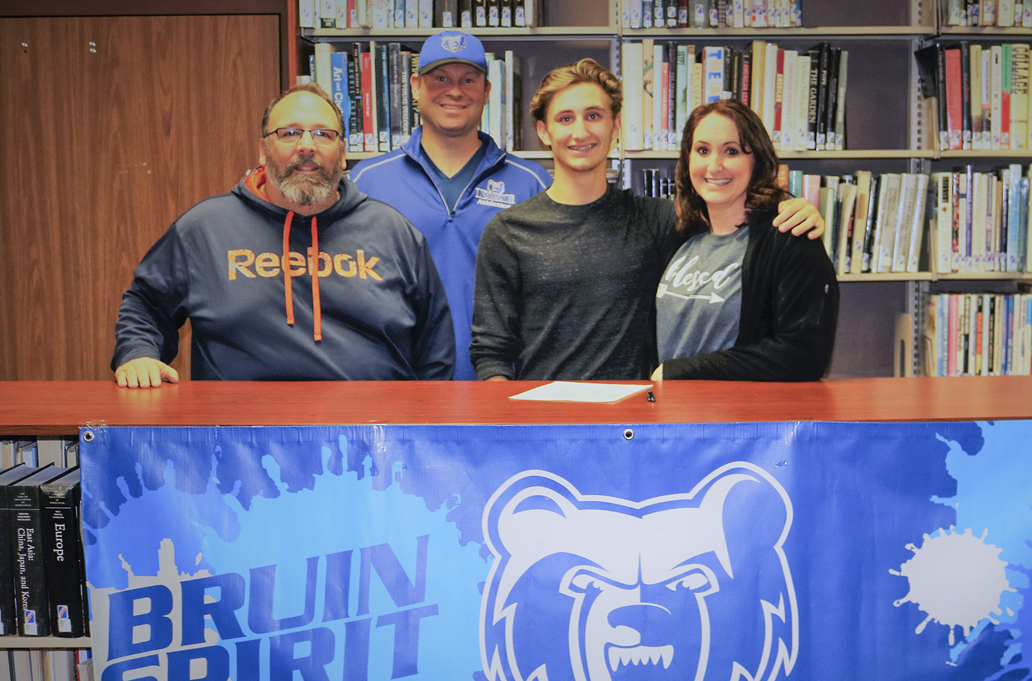 Pictured from left to right are Jeffery Falzone (father), KCC's Head Baseball Coach Eric Laskovy, KCC baseball signee Jacob Falzone and Buffy Falzone (mother).