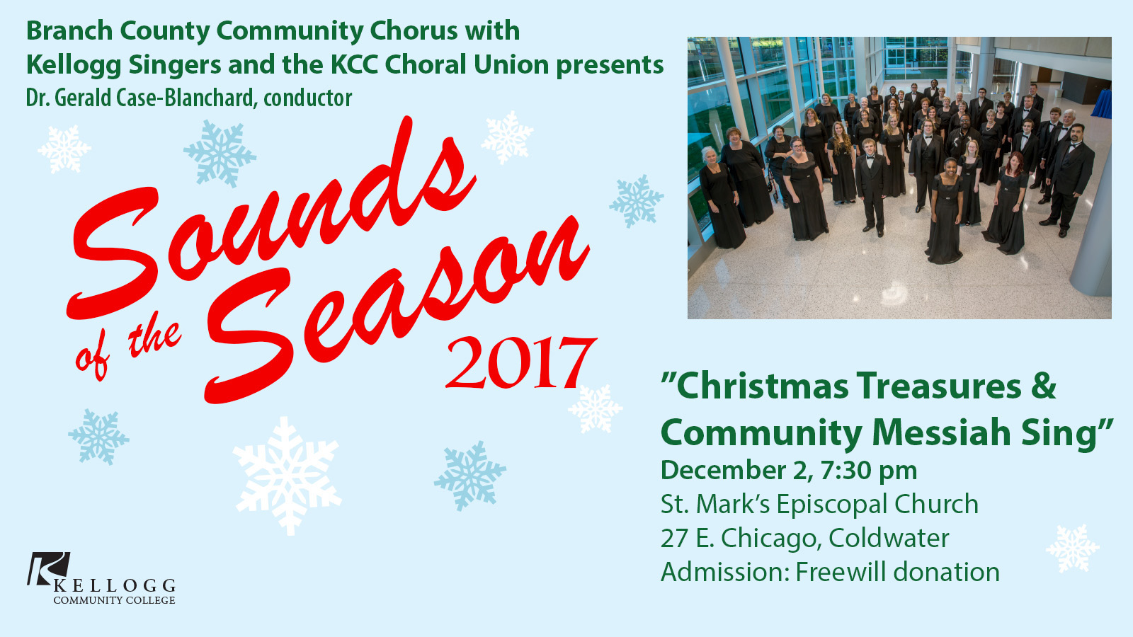 A text slide promoting KCC's Sounds of the Season concert scheduled for 7:30 p.m. Dec. 2, 2017, in Coldwater.