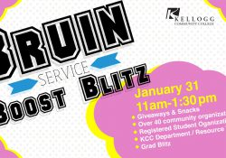 A text slide highlighting KCC's Bruin Boost Service Blitz, scheduled for 11 a.m. to 1:30 p.m. Jan. 31 on KCC's North Avenue campus in Battle Creek.