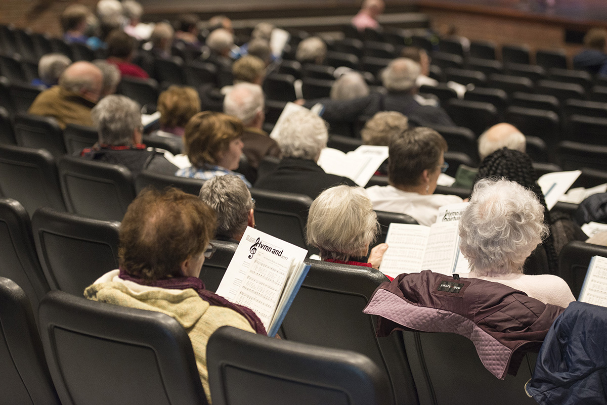 Participants sing during a KCC Hymn Sing event in the Binda Performing Arts Center in 2017.