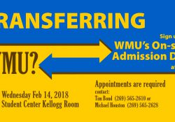 A text slide promoting WMU's On-site Admission Day Feb. 14, 2018, in the Kellogg Room of KCC's North Avenue campus in Battle Creek.