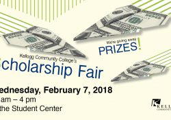A slide featuring money in the shape of paper airplanes, promoting KCC's Scholarship Fair scheduled for 11 a.m. to 4 p.m. Feb. 7, 2018, on campus in Battle Creek.