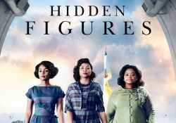 "A crop from the poster for the movie ""Hidden Figures,"" featuring the three main characters walking toward the camera as a rocket launches behind them."