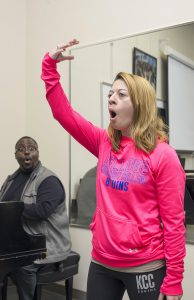 KCC graduate Carrie Zamora sings during a voice lesson in 2016.