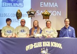 Pictured, from left to right, are Grace Samson (sister), Robert Samson (father), KCC women's basketball signee Emma Samson, Beverly Samson (mother) and KCC's Head Women's Basketball Coach Dic Doumanian.