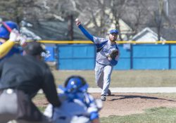 KCC baseball's Zach Smith pitches against Ancilla College on March 23, 2018, at Bailey Park in Battle Creek.