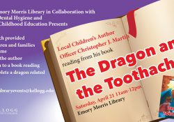"A text slide promoting a reading of the children's book ""The Dragon and the Toothache"" on KCC's North Avenue campus in Battle Creek starting at 11 a.m. Saturday, April 21, in the College library."