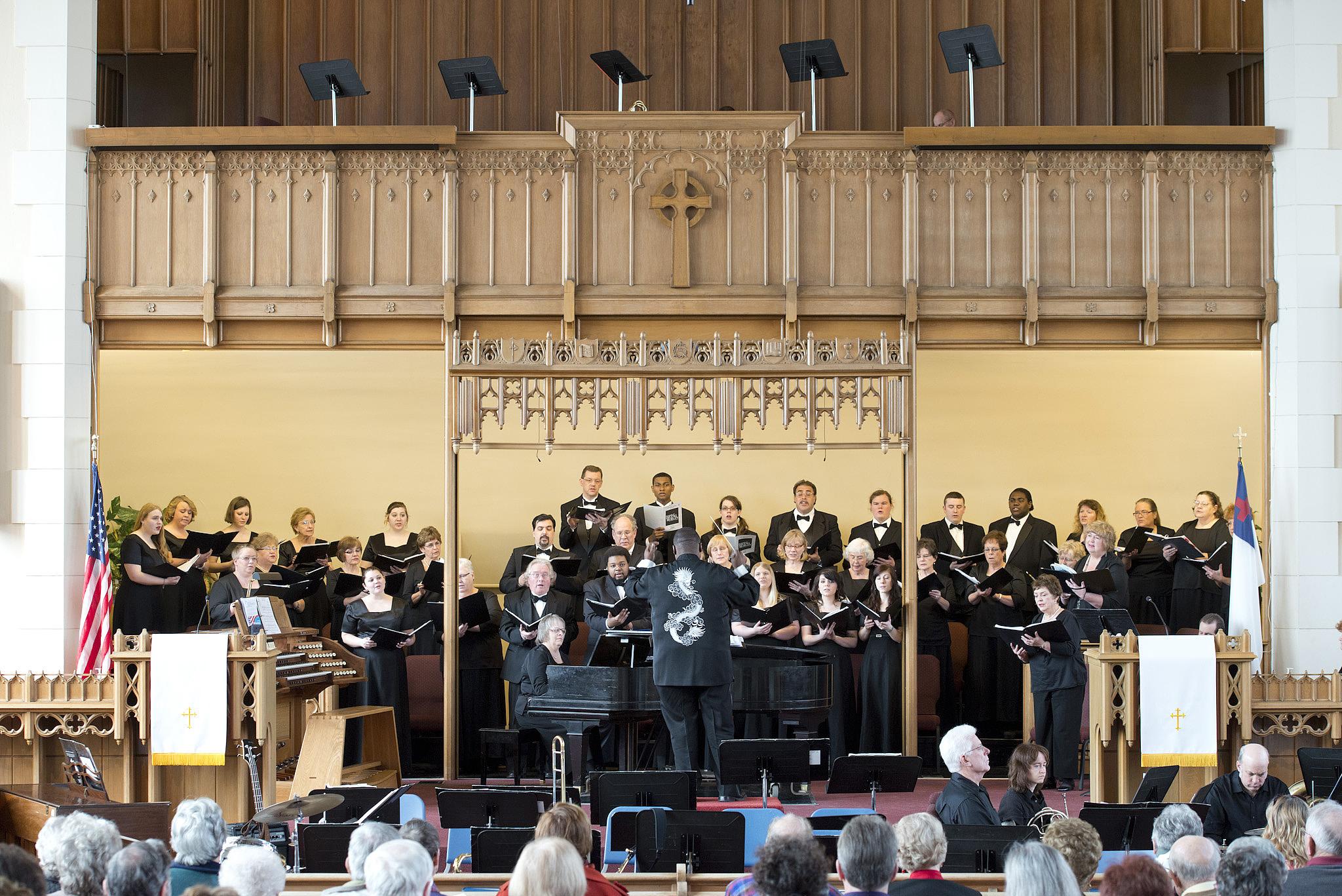 KCC choirs perform at First Presbyterian Church in downtown Battle Creek.