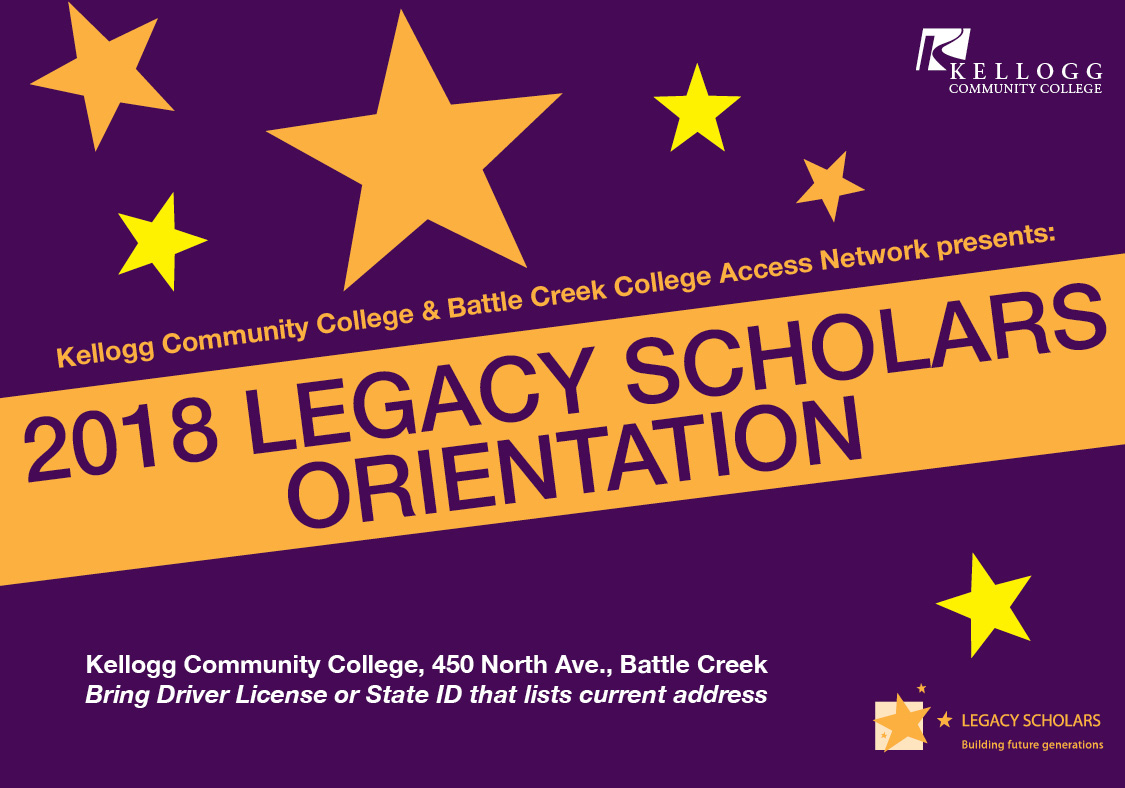 A text slide promoting upcoming Legacy Scholars Orientation Days.