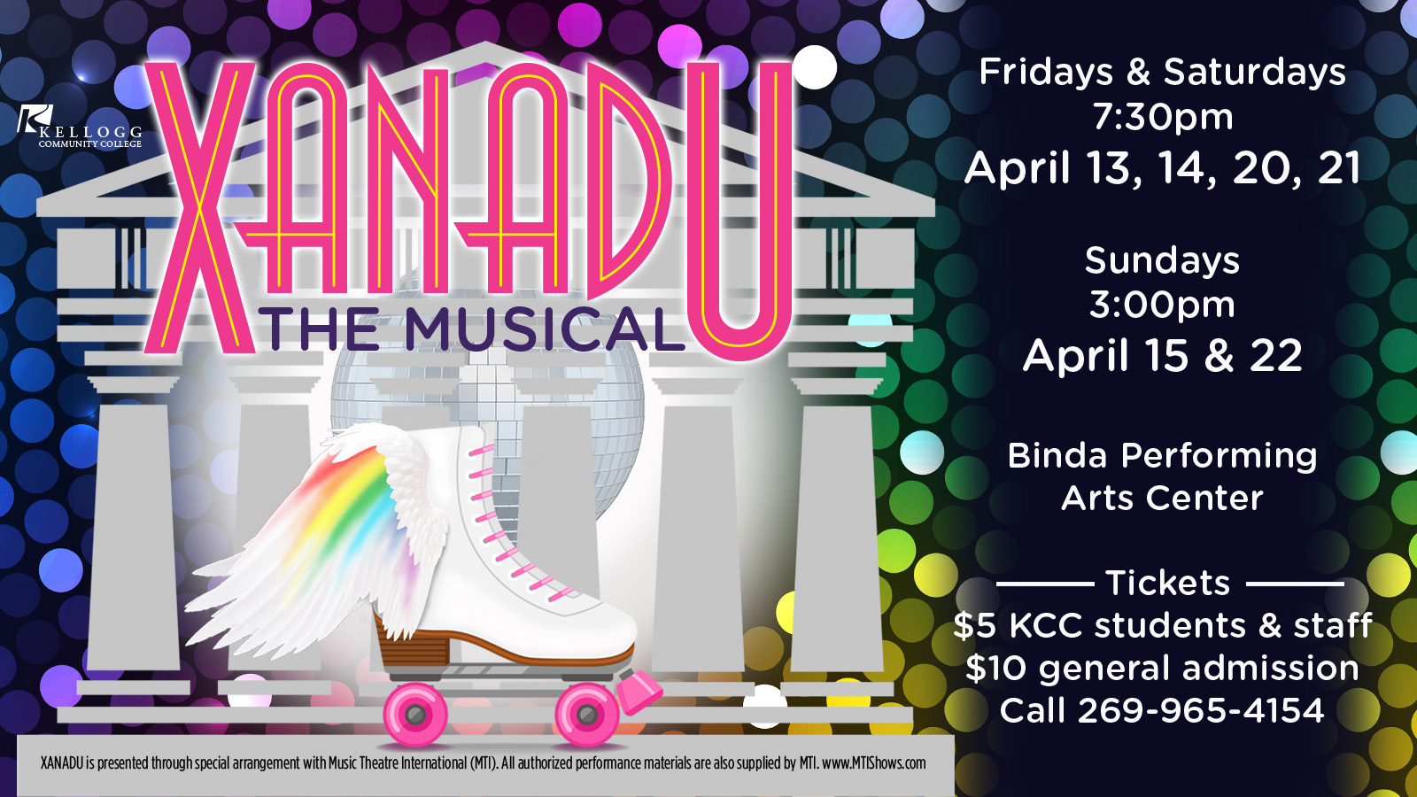 "A roller skate with wings appears on a promotional slide for KCC's spring musical ""Xanadu,"" which opens at 7:30 p.m. April 13, 2018, at KCC's Binda Performing Arts Center on campus in Battle Creek."