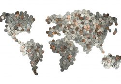 A world map created using coins.