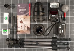 An overhead view of photography equipment.