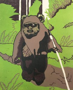 A colorful print of an ewok created by a student in one of instructor Don VanAuken's printmaking classes.