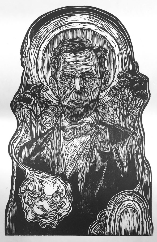 A black and white print of Abe Lincoln created by a student in one of instructor Don VanAuken's printmaking classes.