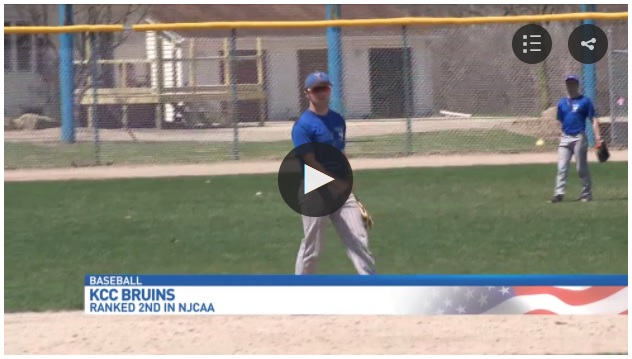 A screenshot of a WWMT Newschannel 3 video featuring KCC's baseball team, showing some players at practice.