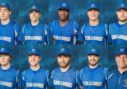 Profile photos of KCC baseball's nine postseason MCCAA award winners and Head Coach Eric Laskovy.