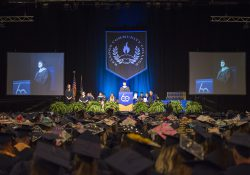 KCC President Mark O'Connell addresses graduates during the College's 60th annual commencement ceremony.
