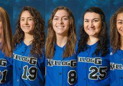 KCC softball players Kailyn Ebeling, Kylie Masko, Jessica Roan, Tyler Snyder and Alexa Stephenson.