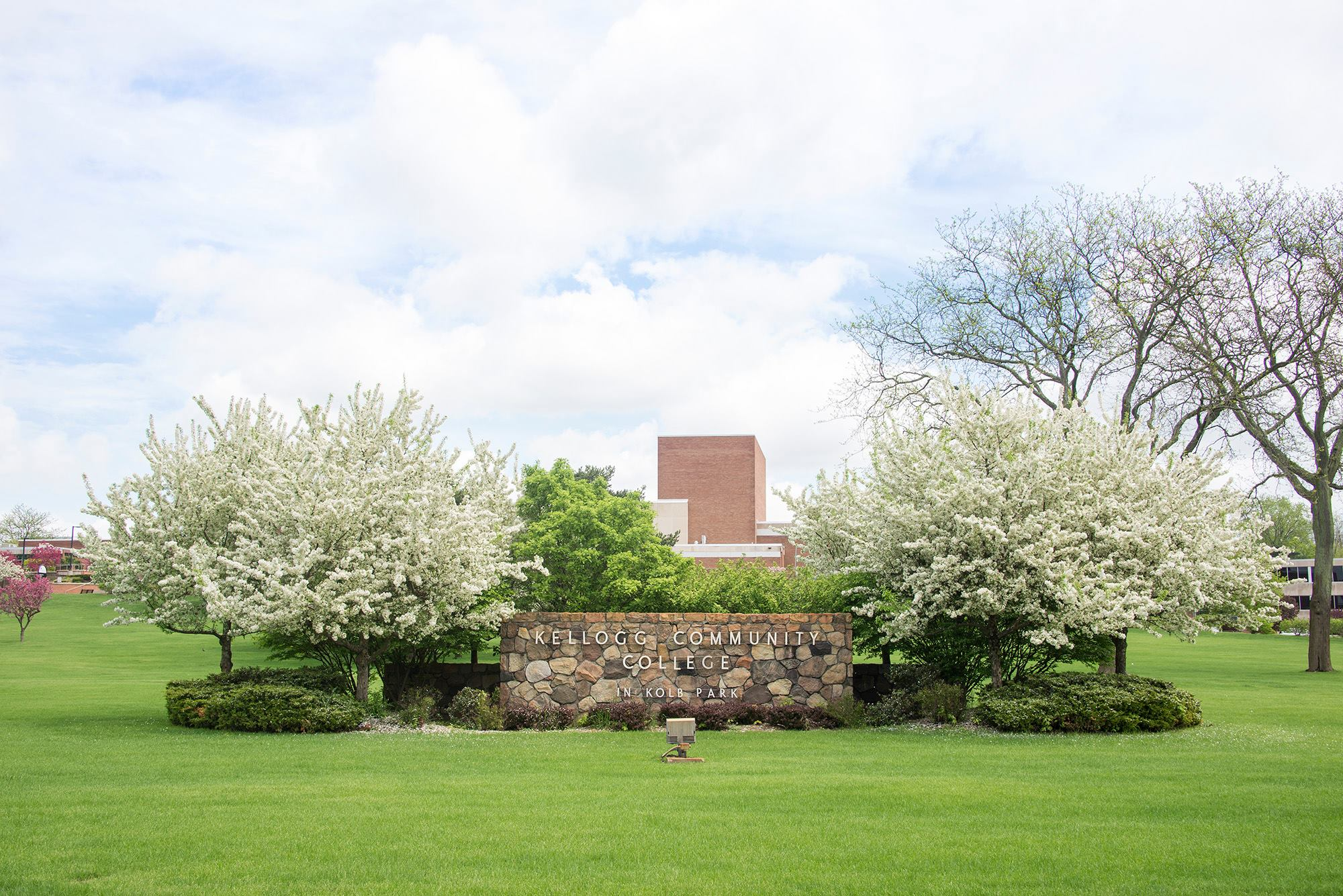 The Kellogg Community College sign at the front of KCC's North Avenue campus in Battle Creek.