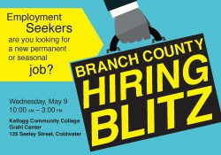 A text slide promoting the May 9, 2018, Branch County Hiring Blitz job fair at KCC's Grahl Center campus in Coldwater.
