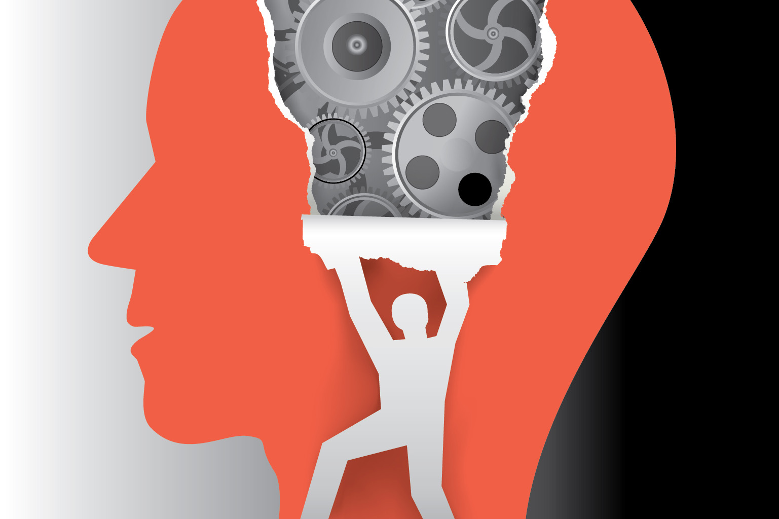 An illustration of a head with gears inside to illustrate a metaphor for criminal psychology.