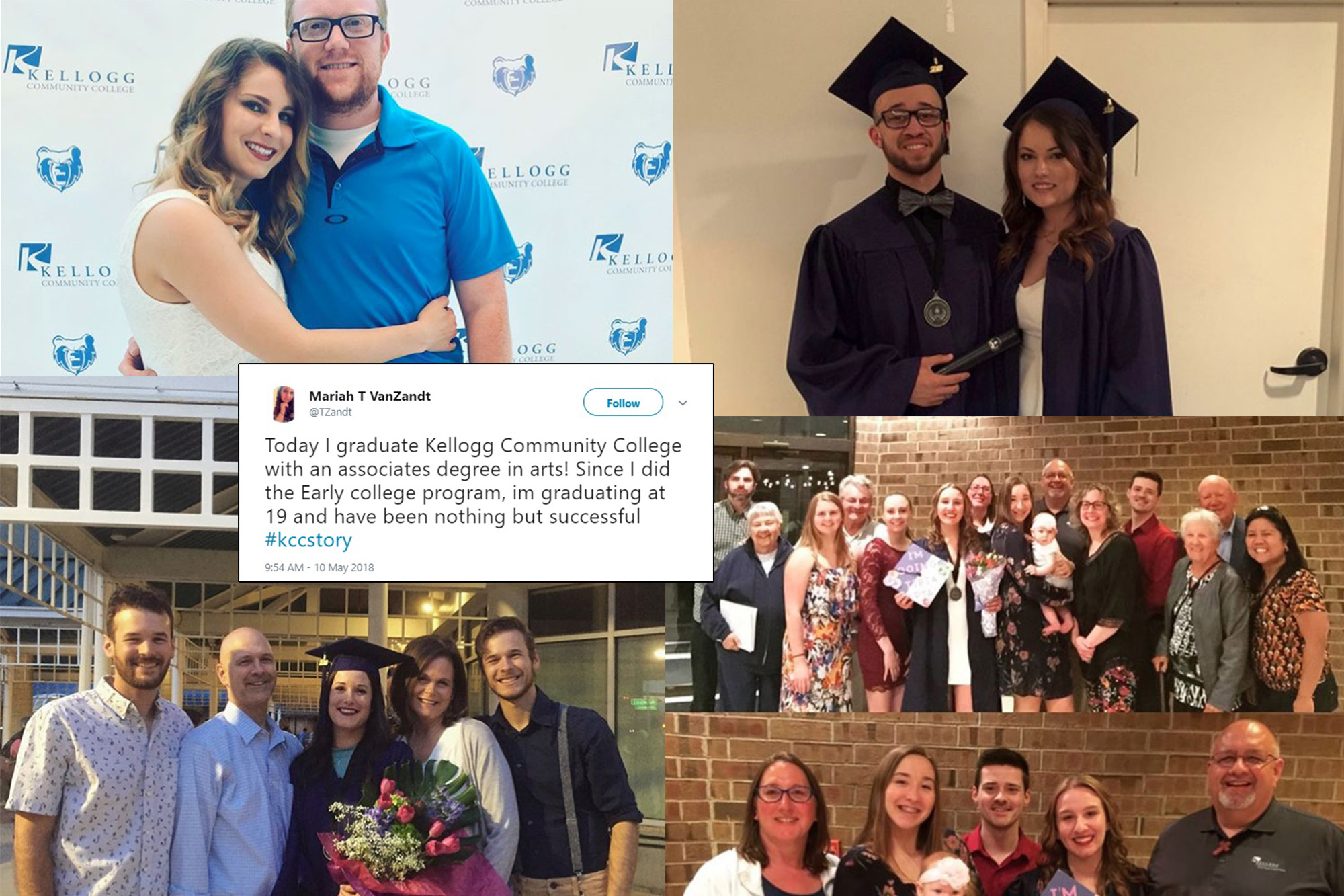 Photos of graduates and their friends and family members from various social media posts, collaged together to show the winners of a social media post contest.