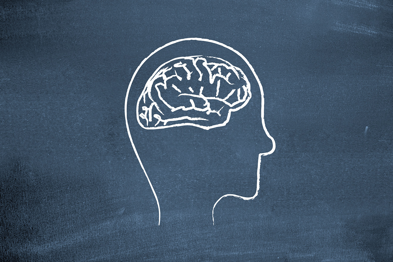Chalk drawing of a head and brain on a chalkboard.