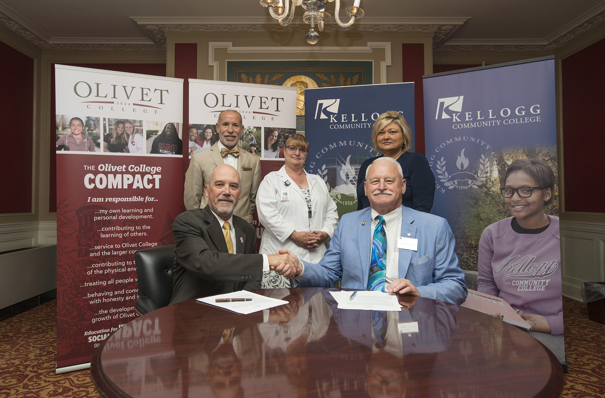 Pictured in the above signing photo taken at Olivet College on June 21 are, in the front row, from left to right, Olivet College President Steven M. Corey, Ph.D., and KCC President Mark O'Connell. Pictured in the back row, from left to right, are KCC Vice President for Instruction Dr. Kevin Rabineau; Olivet College Director of Nursing Education and Assistant Professor of Nursing Dr. Lorraine Manier; and KCC Dean of Workforce Development Dr. Jan Karazim.