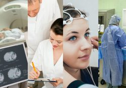 Photos of patients and health professionals in various health care settings.